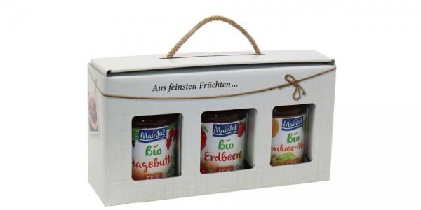 Geschenkbox Bio-Fruchtaufstriche, 3 x 225/210 g (Hagebutte/Erdbeere/Aprikose-Mango)