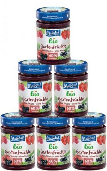 Set Bio + vegan Gartenfrüchte Fruchtaufstrich, fein passiert, 6 x 210 g