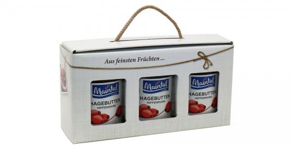 Maintal Geschenk/Geschenkset/Geschenkbox Hagebutten-Konfitüre extra, 3 x 340 g