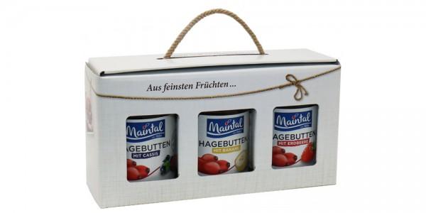Maintal Geschenk/Geschenkset/Geschenkbox Hagebutten-Variationen, 3 x 340 g, Konfitüren extra