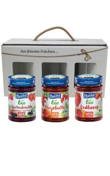 Geschenkbox Bio-Fruchtaufstriche, 3 x 225/210 g (Hagebutte/Erdbeere/Gartenfrüchte)