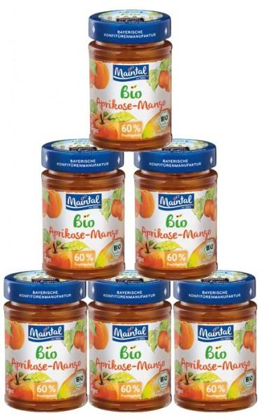 Set Bio + vegan Aprikosen-Mango Fruchtaufstrich, 6 x 210 g