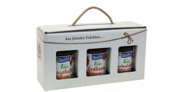 Maintal Geschenk/Geschenkset/Geschenkbox Bio-Fruchtaufstriche, 3 x 225/210 g (Hagebutte/Erdbeere/Gar
