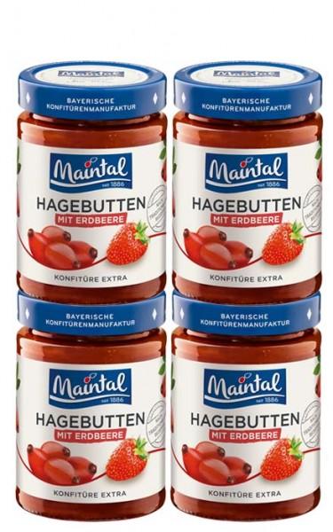 Set Hagebutten-Erdbeer-Konfitüre extra, 4 x 340 g