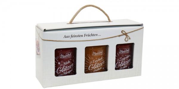 Maintal Geschenkset Glitzer-Fruchtaufstrich, 3er Pack (3 x 200 g Glas)