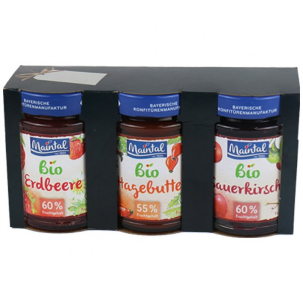Weihnachts Geschenkset BIO Klassik (Erdbeere, Hagebutte, Sauerkirsche) 2 x 210 g, 1 x 225 g